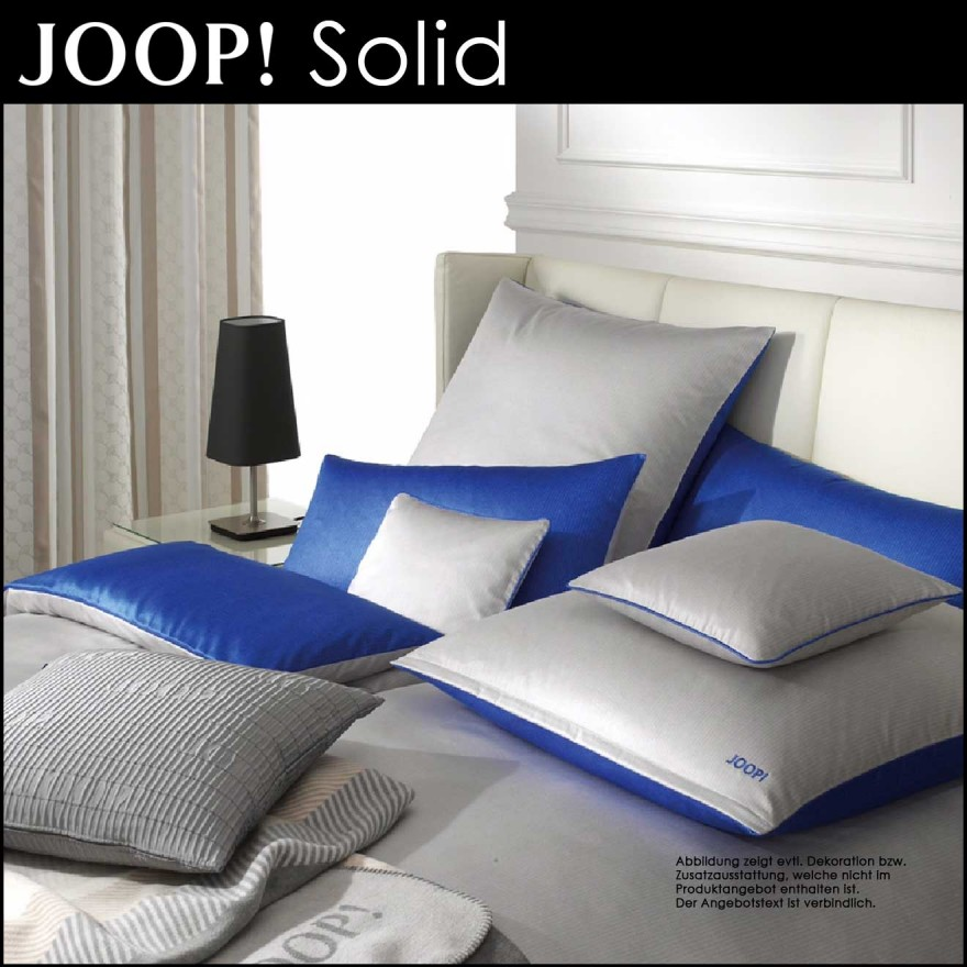 Joop Mako Satin Bettwäsche Solid Baltic Blue 135x200cm80x80cm