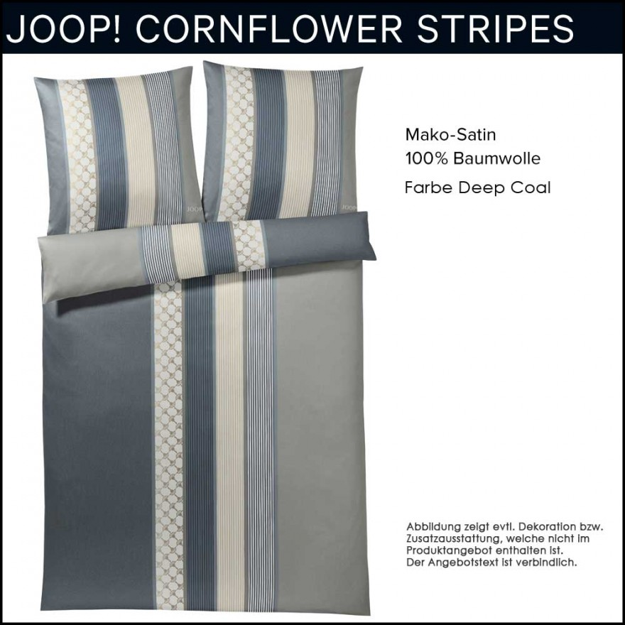Joop Mako Satin Bettwäsche Cornflower Stripes Deep Coal 155x220