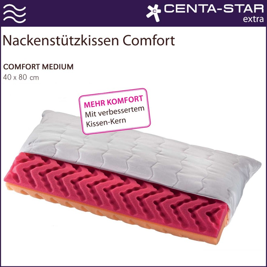 centa star extra nackenst tzkissen comfort medium 40x80cm 2 wahl centa star bettdecken kissen. Black Bedroom Furniture Sets. Home Design Ideas