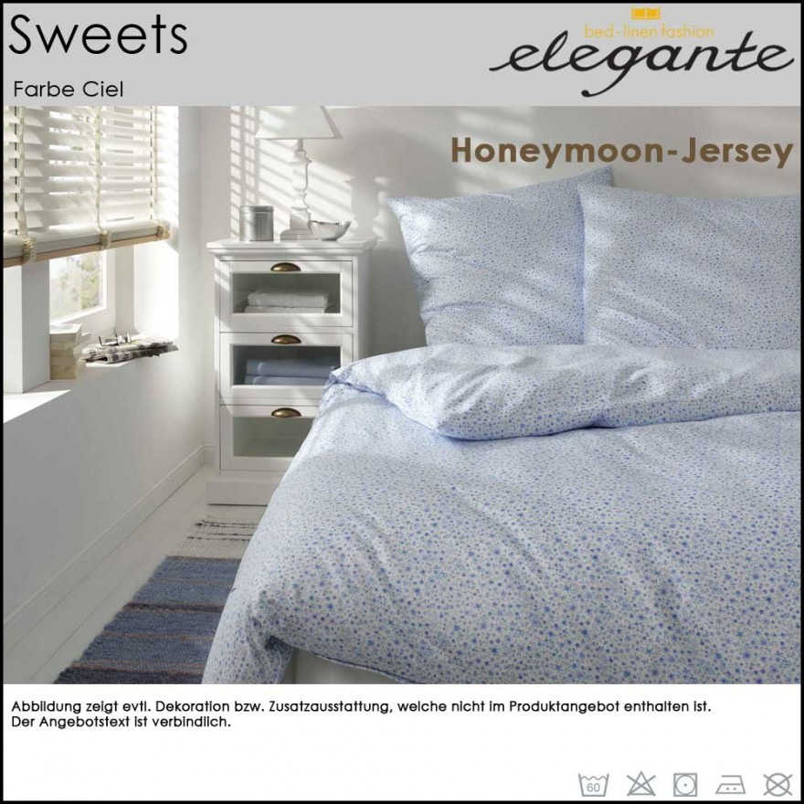 elegante jersey bettw sche sweets ciel 155x220 80x80cm. Black Bedroom Furniture Sets. Home Design Ideas