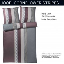 JOOP! Mako-Satin Bettwäsche Cornflower Stripes Deep Wine 135x200cm