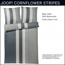 Joop! Mako-Satin Bettwäsche Cornflower Stripes Deep Coal 155x220+80x80cm