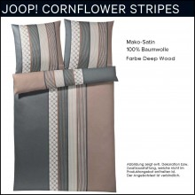 Joop! Mako-Satin Bettwäsche Cornflower Stripes Deep Wood 155x220+80x80cm