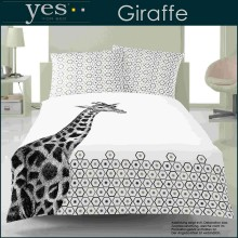 Yes for Bed Mako-Satin Bettwäsche Giraffe Schwarz 135x200+80x80cm
