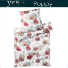 Yes for Bed Mako-Satin Bettwäsche Poppy Red 155x220+80x80cm