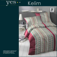 Yes for Bed Mako-Satin Bettwäsche Kelim Granat 135x200+80x80cm